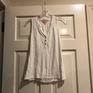 Lilly Pulitzer White Tank with Gold Buttons